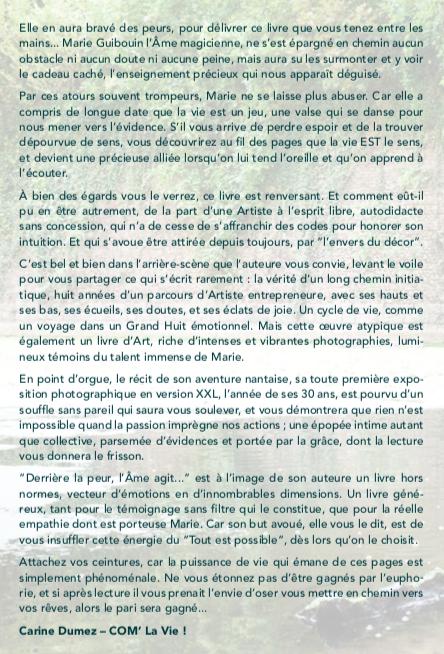 """Texte de la quatrième de couverture du livre """"Derrière la peur, l'Âme agit..."""""""
